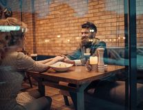 Valentines day with woman and bearded man. Business meeting of man and woman. Proposal and anniversary. Couple in. Valentines day with women and bearded man stock images