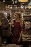 Valentines day with woman and bearded man. Date of family couple in romantic relations, love. Business meeting of. Valentines day with women and bearded man royalty free stock photography