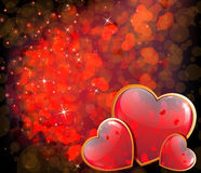 Valentines Day shining hearts Royalty Free Stock Images