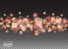 Valentines Day of Shiny Explosion Red Hearts. heart confetti. Stock Photo