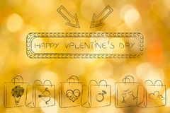 Valentines day shopping bags with love symbols and billboard tex Royalty Free Stock Image