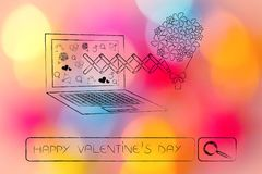 Valentines day flowers popping out of laptop and search bar quer Stock Images