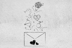 Valentines day symbols flying out of letter envelope Royalty Free Stock Photos