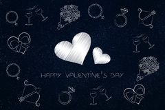 Valentines day symbols surrounding lovehearts with caption Royalty Free Stock Image