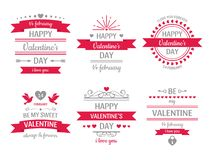 Valentines day sign. Vintage valentine card, retro love couple hearts labels and love wishes heart frame vector stock illustration