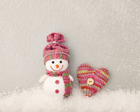 Valentines Day. Snowman on snow. Love concept Royalty Free Stock Photo