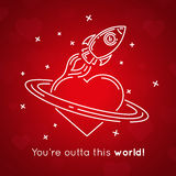 Valentines Day - Spaceship and heart on red background. Vector illustration. Royalty Free Stock Image