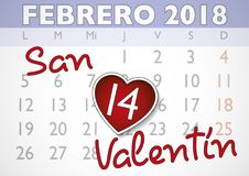 Valentines day appointment february 14 spanish. Valentines day spanish calendar sheet with heart shaped appointment in february 14. Valentines day, love concept Stock Illustration