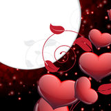 Valentines Day sparkling background. Red hearts and floral elements on a dark sparkling background.  Valentines Day romantic background Stock Photo