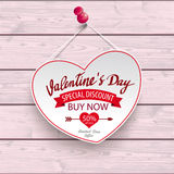 Valentines Day Special Discount Hanging Heart Pink Wood Royalty Free Stock Photos