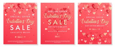 Valentines Day special offer banners. With different hearts and golden foil elements.Saletemplates perfect for prints, flyers, banners, promotions, special stock photography