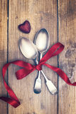 Valentines Day Spoons. Tied with romantic red ribbon Royalty Free Stock Image