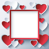 Valentines day square frame with 3d hearts Royalty Free Stock Photography