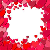 Valentines Day square frame with scattered hearts Royalty Free Stock Photos