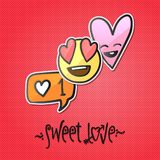 Love stickers, emoji, icons, emoticons, vector illustration. Stock Images