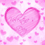 Valentines day in striped heart on pink old paper Stock Photo