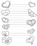Valentines day stylized sheet of paper with hearts and lines for love letter in black and white colors. Printable vector illustrat. Ion vector illustration