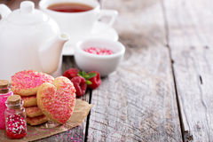 Valentines day sugar cookies with sprinkles Royalty Free Stock Photos