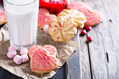 Valentines day sugar cookies with sprinkles Stock Photos