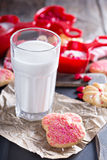 Valentines day sugar cookies with sprinkles Stock Images