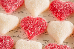 Valentines Day Sugar Gummy Candy Love Hearts Stock Photos
