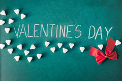 Valentines Day with sugar hearts and ribbon Royalty Free Stock Photography