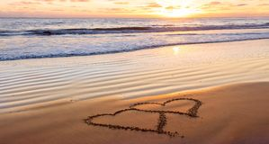 Valentines day on beach royalty free stock photos
