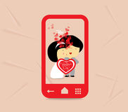 Valentines day sweet love couple with hearts in phone Royalty Free Stock Photo