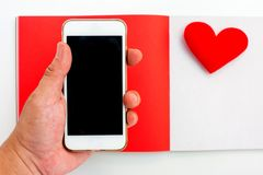 Valentines day and Sweetest day,. Love concept with red notebook and copy space royalty free stock photo