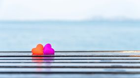 Valentines day and Sweetest day, love heart. Concept with nature of beach background stock photo