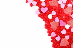 Valentines Day sweets and candy border over white Royalty Free Stock Photos