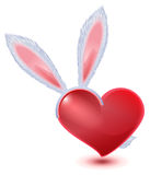 Valentines Day symbol. Fluffy bunny ears and red heart Stock Image