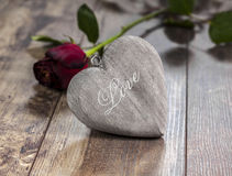 Valentines day symbol. Heart on a wooden backgroun Royalty Free Stock Images