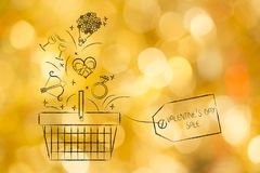 Valentines day symbols falling into a shopping basket with price Royalty Free Stock Images