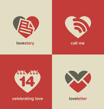 Valentines day symbols and icons collection. Set of heart shape icons and symbols. Valentines day collection. Logo love unique design concepts. Dating web site Stock Images