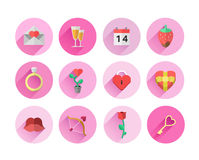 Valentines day symbols in pink circles Royalty Free Stock Image