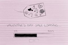 Valentines day symbols on price tag with progress bar loading an Royalty Free Stock Photo