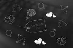 Valentines day symbols and price tag with Sales caption Stock Image