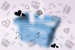 Valentines day symbols and search bar with sales price tags and Stock Image