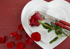 Valentines Day table place setting with copy space. Stock Image