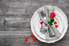 Valentines day table place setting Stock Images