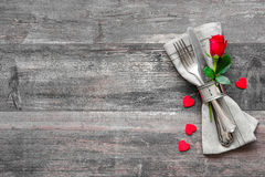 Valentines day table place setting Royalty Free Stock Photo