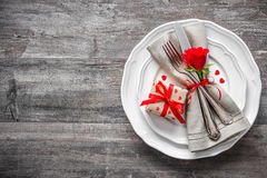 Valentines day table place setting Royalty Free Stock Photography
