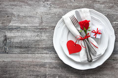 Valentines day table place setting. Holidays background stock photography