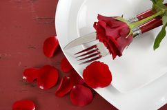 Valentines Day table place setting with red rose closeup Royalty Free Stock Photos