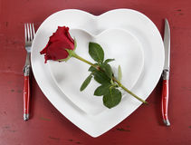 Valentines Day table place setting with red rose Royalty Free Stock Images