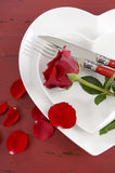 Valentines Day table place setting vertical. Stock Images