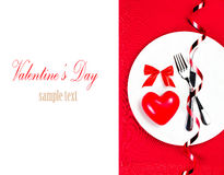 Valentines Day table setting place with copyspace. Red Heart on Stock Photos
