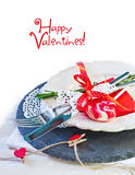 Valentines day table setting with plate, knife, fork, red ribbon Royalty Free Stock Image