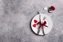 Valentines day table setting romantic dinner marry me wedding engagement ring in box Stock Photos